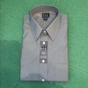 NWT Jos A Bank LS Gray Check Dress Shirt